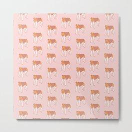 Kawaii Fox Terrier Vector Repeat Pattern Metal Print