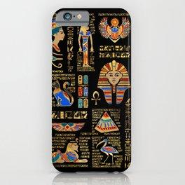 Egyptian hieroglyphs and deities on black iPhone Case