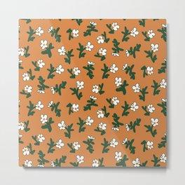 Earthy Daisy Print - Terracotta Brown, White, Green Metal Print