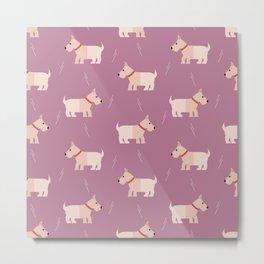 Fox terriers on purple Metal Print