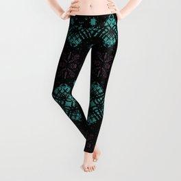 Geometric Stained Glass Blocks - Black Velvet Pattern on Turquoise & Magenta by artestreestudio Leggings