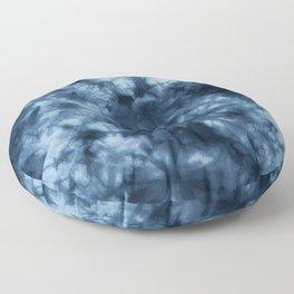 Dark Midnight Blue Boho Tie Dye Pattern Floor Pillow