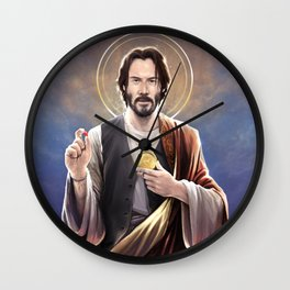 Saint Keanu of Reeves Wall Clock