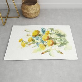 Watercolor flowers of blowball and forget-me-not Rug