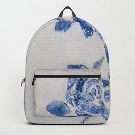 Original Art - Wedgewood Blue Roses - Raised detail & texture Backpack