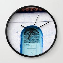 Blue Iron Door Wall Clock