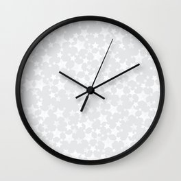 Block Printed White Stars Pattern on Pale Gray Wall Clock