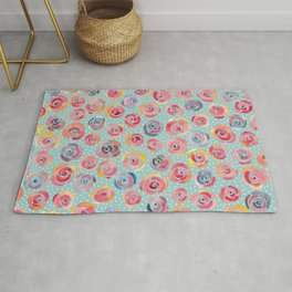 Watercolor Roses with Dots - Forever is Composed of Nows Rug