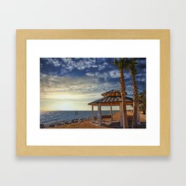 Pavilion Under Palm Tree by the Sea at Sunset Framed Art Print