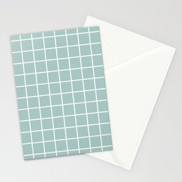 Minimalist Window Pane Grid, Sea Foam and White Stationery Cards