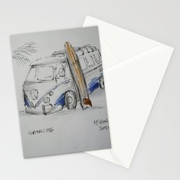 Coastal life bus and surfboard Stationery Cards