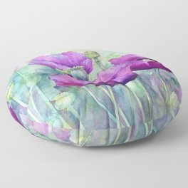 Watercolor purple poppy flowers poppies floral art print Floor Pillow