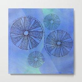 Blue Sea Urchin Metal Print