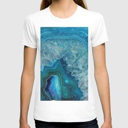 Teal Blue Agate slice T-shirt