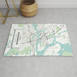Stockholm Sweden City Map with GPS Coordinates Rug