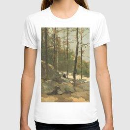 Wooded View near Barbizon - Johan Hendrik Weissenbruch (1900) T-shirt