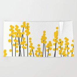 Hello Spring! Yellow/Black Retro Plants on White #decor #society6 #buyart Beach Towel