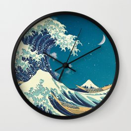 Great Wave Off Kanagawa and Starry Sky Wall Clock