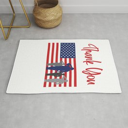 Thank You For Your Service Patriotic Veteran Rug