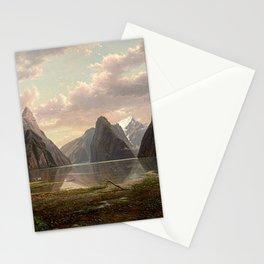 Milford Sound, New Zealand by Eu von Guerard  Romanticism  Landscape Stationery Cards