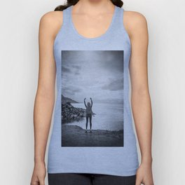 Girl at the Great Salt Lake in Black and White Unisex Tank Top