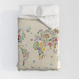 Animal Map of the World Duvet Cover