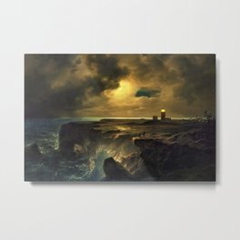 'After the Storm' lighthouse landscape coastal painting by Christian Ernst Bernhard Morgenstern Metal Print