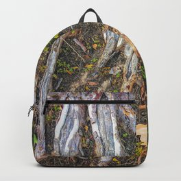 tree roots with green leaves plant on the ground Backpack