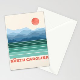 North Carolina - retro travel poster 70s style throwback minimalist usa state art Stationery Cards