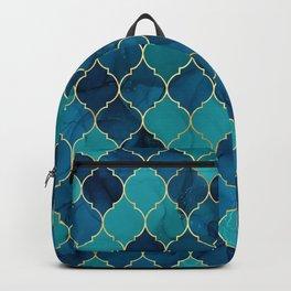 Teal-Turquoise Quatrefoil Pattern Backpack