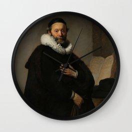 Johannes Wtenbogaert, Rembrandt van Rijn, 1633. Fine art. Wall Clock