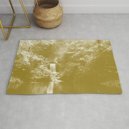 forest pond jade tone washed out effect aesthetic landscape art photography Rug