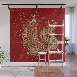 Golden Phoenix Bird on red Wall Mural