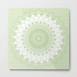 Boho Pastel Green Mandala Metal Print