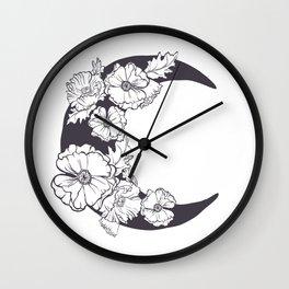 Midnight Poppies Wall Clock