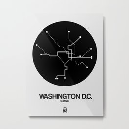 Washington D.C. Black Subway Map Metal Print