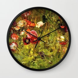Multi-Color and Red Poppy Fields in Tuscany, Italy by Maria Oakey Dewing Wall Clock