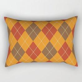 Traditional Orange Red and Black Argyle Plaid Print Rectangular Pillow