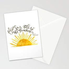 Watercolor Sun and Hand Lettered Walt Whitman Quote | Modern Calligraphy Quote | Watercolor Painting Stationery Cards