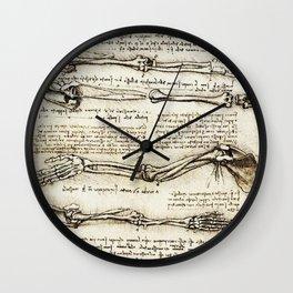 Leonardo Da Vinci human body sketches - arms Wall Clock