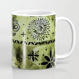 Border Bandanna Print Design Batik Tonal Design Tie-Dye Effect Coffee Mug