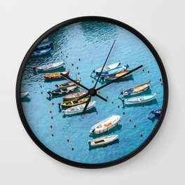 Colorful boats in the harbor of Cinque Terre, Italy | All blue | Summer has started | Italian art prints Wall Clock