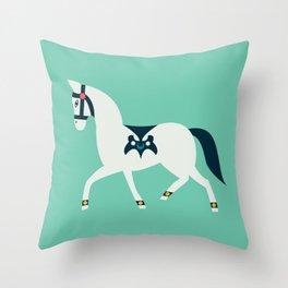 Arabian Horse Parade - Mint Throw Pillow