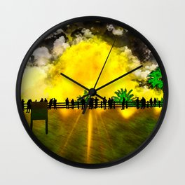 Sun Explosion, view from the coastline Wall Clock
