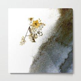Letter A Monogram Watercolors Metal Print