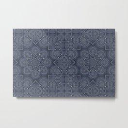 Blue Jeans Denim Patchwork Style Metal Print