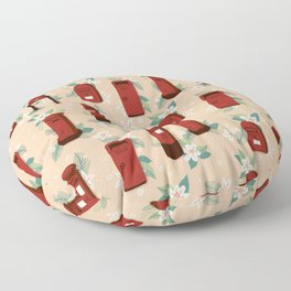 Red Postboxes with White Flowers Floor Pillow