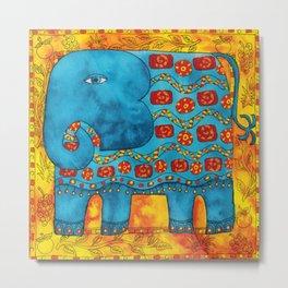 Patterned Elephant Metal Print