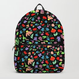 Ditsy Floral Pattern on Black Shabby Chic Flowers Modern Backpack