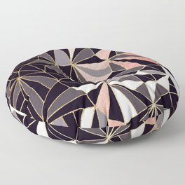 Stylish Art Deco Geometric Pattern - Black, Coral, Gold #abstract #pattern Floor Pillow